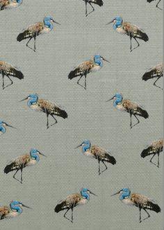 """Marching Herons"" in Dimpse. Cotton Half Panama Upholstery fabric — J E S S I C A R U S S E L L F L I N T"