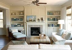 Fireplace shelves and mantel.
