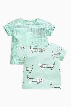 Mint Short Sleeve Dog Print T-Shirts Two Pack (0mths-2yrs) cc0e8c110b6a1