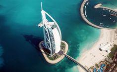 An aerial view of the great Burj Al Arab hotel, Dubai Burj Al Arab, Cool Places To Visit, Places To Travel, Travel Destinations, Dubai Tourist Attractions, Hotel Dubai, Travel Around The World, Around The Worlds, Ocean View Hotel