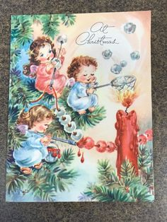 Christmas Card Images, Vintage Christmas Images, Retro Christmas, Vintage Holiday, Christmas Greeting Cards, Christmas Pictures, Christmas Angels, Christmas Art, Christmas Greetings