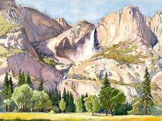 Glen Knowles - Yosemite Falls - California art - fine art print for sale, giclee watercolor print - Californiawatercolor.com
