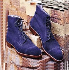 New Men's Handmade Navy-Blue Cap Toe Boots, Men's Ankle High Suede Lace Up Boots sold by Leather Huts. Shop more products from Leather Huts on Storenvy, the home of independent small businesses all over the world. Suede Shoes, Loafer Shoes, Navy Color, Navy Blue, Lace Up Boots, Ankle Boots, Ankle Highs, Formal Shoes, Calf Leather
