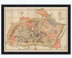Old Map of Strasbourg Strassburg 1880 , City Plan France - VINTAGE MAPS AND PRINTS