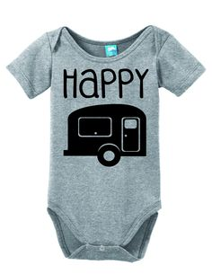 Happy Camper Onesie Funny Bodysuit Baby Romper White 0-3 Month LOLOnesies.com