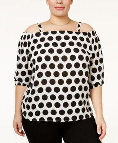 INC International Concepts Plus Size Off-The-Shoulder Polka-Dot Top, Only at Macy's $37.99 A flirty off-the-shoulder neckline and a whimsical polka-dot print make this plus size INC International Concepts top a workweek wardrobe must.