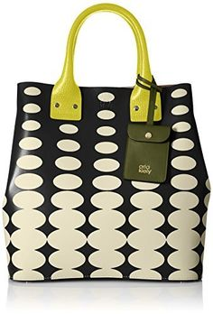 Orla Kiely Oval Printed Leather Willow Top Handle Bag