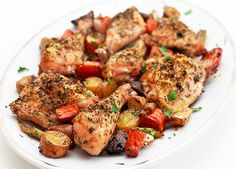 Chicken Roasted on a Bed of Vegetables – The Perfect One-Pot Meal on http://www.wishfulchef.com