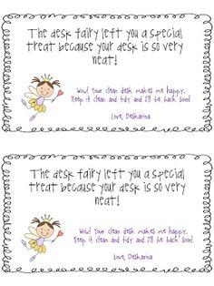 FREE desk fairy notes... boy do my students need this!