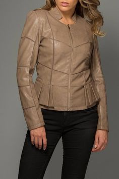 Beautiful  jacket with pleated peplum and mesh cuts. Vegan Leather Jacket  by Coalition. Clothing - Jackets Coats & Blazers Chicago Illinois