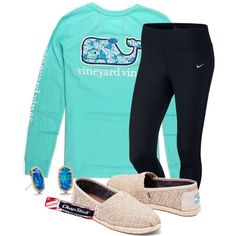 I have this outfit  by tessabear-prepster on Polyvore featuring polyvore, fashion, style, Vineyard Vines, NIKE, TOMS, Kendra Scott, Chapstick and clothing