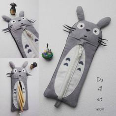 Trousse Totoro par Du fil et mon . Diy Zipper Crafts, Sewing Crafts, Sewing Projects, Totoro, Chi Le Chat, Anime Crafts, Diy Sac, Animal Bag, Pencil Bags