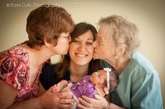 4 generations - newborn photography - little girls