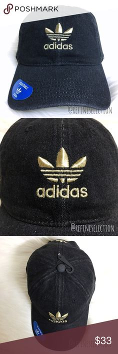 adidas Originals Denim Washed Relaxed Strapback Brand new, Adult, Unisex, Adjustable One Size. This adidas Originals Black Denim Washed Relaxed Strapback Hat is amazing! Love the washed black denim for a vintage, worn in look. It is contrasted with the adidas trefoil logo embroidered in gold both on the front and back. Adjustable strapback, with a gold adidas buckle, for the perfect fit. Made of 100% Cotton. adidas Accessories Hats