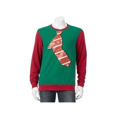 Men's Santa Tie Christmas Sweatshirt, Size: Medium, Med Green