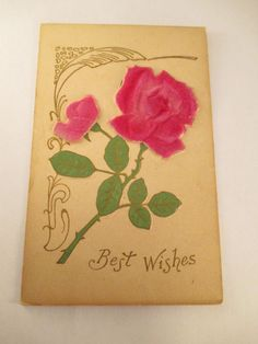 Antique Early 1900s Art Nouveau BEST WISHES Postcard Velvet Roses Gilt #BestWishes