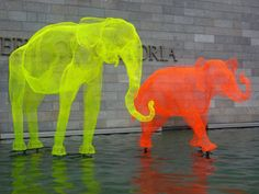 The National Gallery, Melbourne. Neon elephants sculpture
