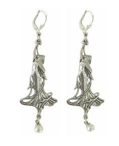 Jugendstil Schmuck Ohrringe Lilien 925 Silber