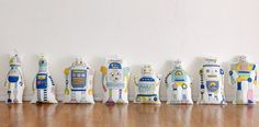 Cotton Panel Fabric Robot in 8 Patterns By The by FabricBonita