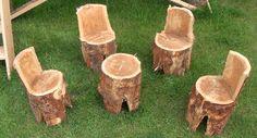 Tafeltje en stoeltjes boomstam