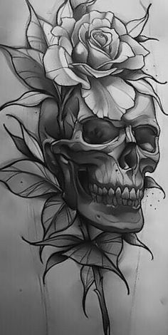 Schädel und Skelette: Große Tattoo-Idee skull tattoo designs - Tattoos And Body Art Skull Tattoo Design, Skull Tattoos, Body Art Tattoos, Sleeve Tattoos, Tattoo Designs, Tattoo Ideas, Tattoo Hip, Skull Tattoo Flowers, Yakuza Tattoo