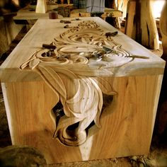 Incredible craftsmanship in #Bali. Hand carved table. A stunner.