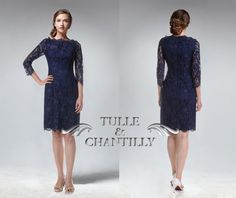 Midnight blue vintage straight neck 3/4 sleeves lace prom dress by TulleandChantilly, $170.00