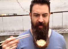 Beard Man Eats Ramen Out Of 'Beard Bowl'