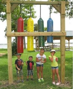 Giant chimes made from recycled propane tanks at the Bayer Music Garden