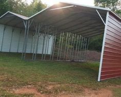 Red Double wide A-frame Carport - Elite Metal Structures Agricultural Buildings, Metal Garages, Metal Structure, Garage Shop, Metal Buildings, Kitchen Organization, Backyard Ideas, Frame, Outdoor Decor