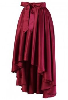 Bowknot Asymmetric Waterfall Skirt in Wine Red - Retro, Indie and Unique Fashion
