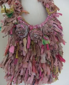 Pastel Dusty Pinks Recycled Sari Silk  Very Raggy Ribbon Bag  Hand Crocheted by plumfish
