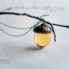 Woodland Amber Acorn Autumn NecklaceFall jewelry by Goodthings88, $30.00