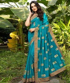 Chanderi Silk Chanderi Silk Saree, Art Silk Sarees, Latest Sarees Online, Party Wear Sarees Online, Turquoise Blue Color, Saree Shopping, Blue Saree, Fancy Sarees, Printed Sarees