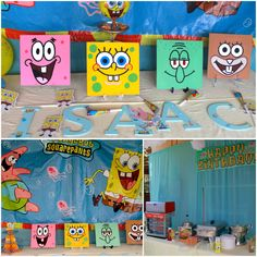 Spongebob Decorated Tables! See other post on how to make the spongebob painted wooden squares.