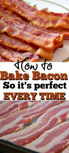 brunch ideen Baking Bacon - How to Bake Bacon so that it comes out perfectly EVERY TIME! Yes, you can bake bacon in the oven. It's a great way to cook bacon for breakfast, brunch or to se Bacon In Cold Oven, Oven Baked Bacon, Bacon Cooked In Oven, Cooking Bacon, Oven Cooking, Cooking Recipes, Cooking Time, Cooking Rhubarb, Camping Cooking