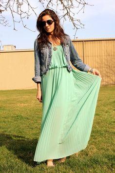 jean jacket with mint dress