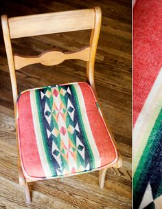 use vintage mexican blankets as fabric for chair cushions // The Summery Serape
