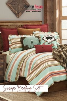 Western Bedding Sets, Western Bedroom Decor, Western Living Rooms, Queen Bedding Sets, Cowgirl Bedroom, Western Quilts, Southwestern Bedding, Southwest Bedroom, Southwestern Style