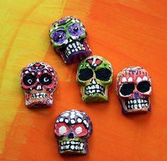 Molded papier mache skulls - calaveras for Dia de los Muertes
