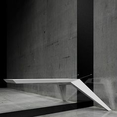A by Bozhinovskidesign have created a cantilevered desk suspended from the wall by steel cables. Furniture Showroom, Metal Furniture, Find Furniture, Table Furniture, Modern Furniture, Furniture Design, Modern Entry, Corporate Interiors, Office Interiors