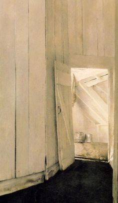 Andrew Wyeth - Cooling shed (1953) A subtle symphony of whites and a deceptively simple subject make a big impact!