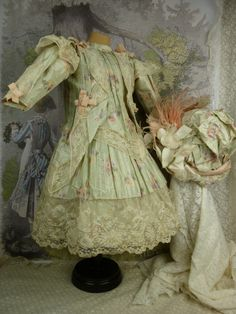 Exceptional French olive flowered silk couturier dress with matching from stairwaytothepast on Ruby Lane