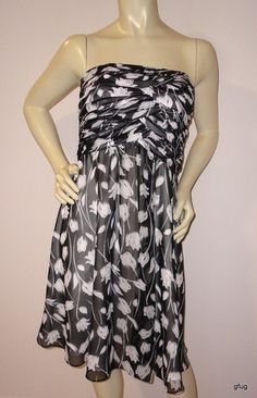 WHITE HOUSE BLACK MARKET Sz 4 Floral Print Cocktail Dress Strapless Boned Ruched