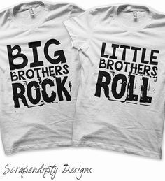 This listing is for a DIGITAL file iron on transfer design featuring the phrases Big Brothers Rock and Little Brothers Roll. Show the