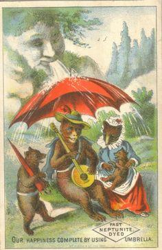 Neptunite Umbrella Bears Trade Card  1878