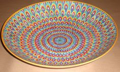 Stunning large thin bowl cm 45 Peacock pattern turquoise and orange accent by Lorenza