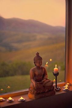 """There's more than yoga in my novel """"Ashram"""" as the resident students perceive ancient wisdom in related traditions. Consider this Buddha altar in a window sill Lotus Buddha, Deco Zen, Meditation Rooms, Buddha Meditation, Buddha Buddhism, Meditation Quotes, Chakra Meditation, Meditation Music, Mindfulness Meditation"""