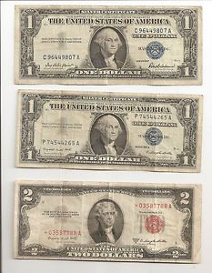 US Paper Money 2 Dollar Red Seal Star Note & Silver Certificates One Dollar (2)This money is as old as me?