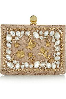 Dolce & Gabbana Ava crystal-embellished satin and lace box clutch with chain strap.| NET-A-PORTER
